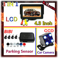 4.3 inch TFT Color LCD monitor & CCD waterproof Rear View Camera For Parking Sensor Kit 4 Sensors 22mm 7 Colors,Free Shipping