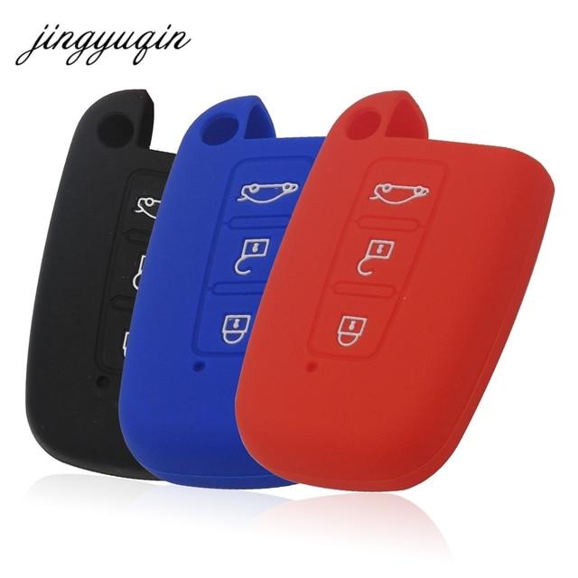 Jingyuqin silicone capa inteligente caso chave para hyundai equus genesis veloster para kia sportage forte optima alma azera sorento