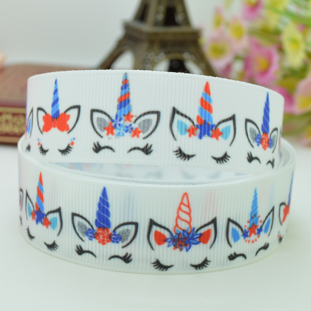 DUWES 78 22mm Independence Day Unicorn Printed grosgrain ribbon hair bow DIY handmade wholesale Customization 50YD