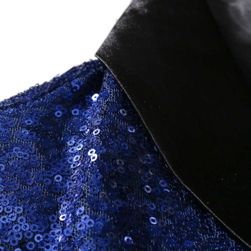 ... Black Sequin One Button Shawl Collar Suit Jacket Men Bling Glitter  Nightclub Prom DJ Blazer Jacket ... c809c24edaf5