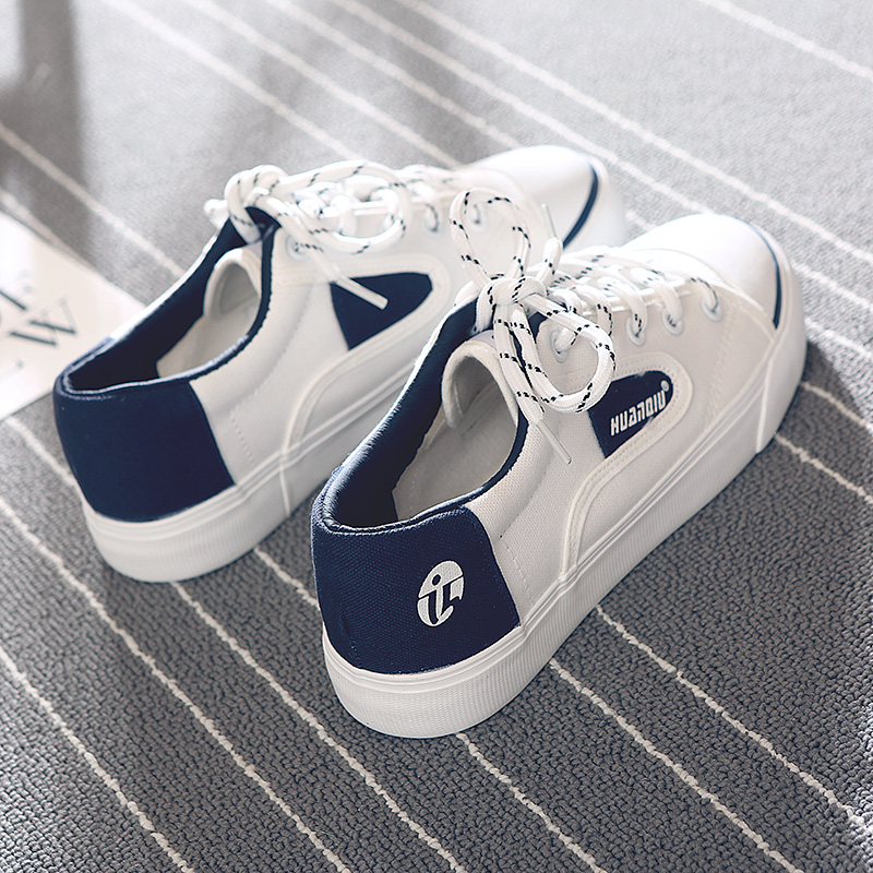 Women Sneakers White Lace Up 2018 New Fashion Shoes for Female Spring Summer Girl Causal Shoes Preppy Style Musthave Size 35-39