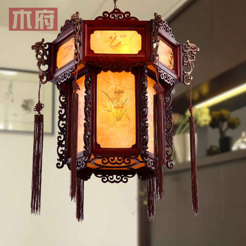 Antique Chandelier Lighting Clical Chinese Palace Lanterns Light Foyer Lantern Carved Wood Art Teahouse Lamp Living Room