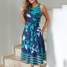 Платья женские летние плюс размер О-образным вырезом без рукавов Бохо печати пояса линии платье повседневные женские пляжные сарафаны халат Vestidos