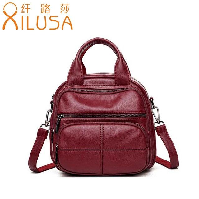 9a29b15e35 Xilusa Women Wine Red Crossbody Bag Soft PU Leather Handbag Multi Functional  Travel Shoulder Bag Fashion Girls Black Pockets Bag