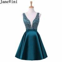 JaneVini сексуальное нижнее белье с глубоким v образным вырезом платье для выпускного вечера с бисером Ливан цвета морской волны короткое плать