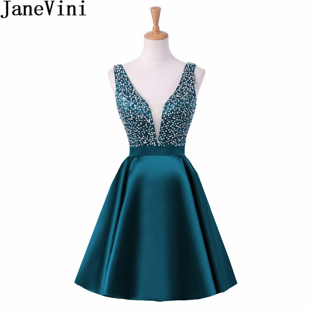 JaneVini Sexy profonde col en v perles robe de bal liban sarcelle robe de demoiselle d'honneur courte 2018 pailletée dos nu robe de bal Satin