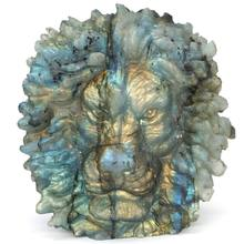 4 Lion Head Labradorite Figurine Carved Stone Animal Statue Healing Reiki Home Office Decor natural fluorspar and labradorite figurine stone necroma sculpture decorated statue wizard stones and crystals hand carved