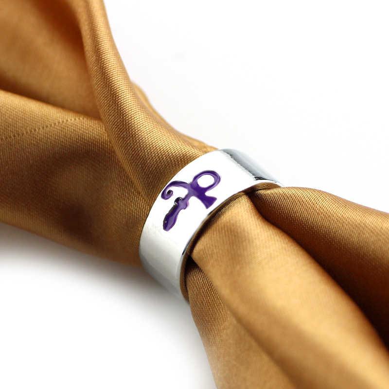 Feimeng takı Steampunk prens RIP Ankh işareti sembol Logo mor yağmur yüzük, şarkıcı yüzük, prens sanatçı gümüş düğün Band yüzük