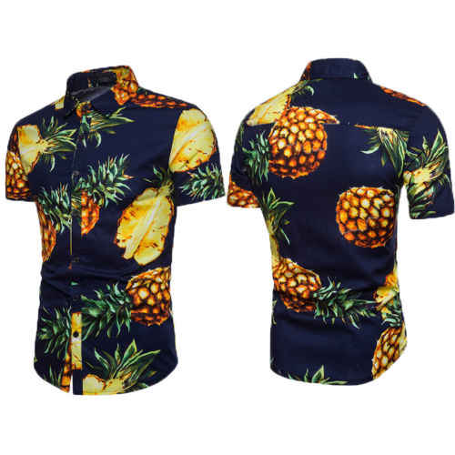 ファッションカジュアル男性夏半袖ハワイアンシャツトロピカルビーチホリデーパーティー服