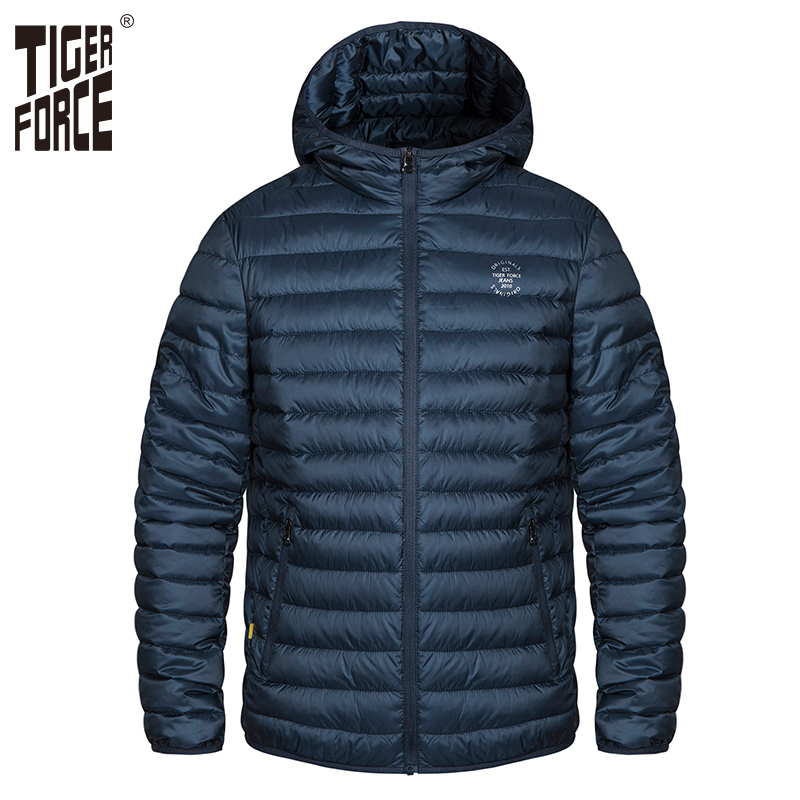 Tiger Force Plus Size Men Spring Jacket Thick   Parka   Men's Solid Jacket Male Hooded Puffy Coat Casual Fashion Outerwear Clothes