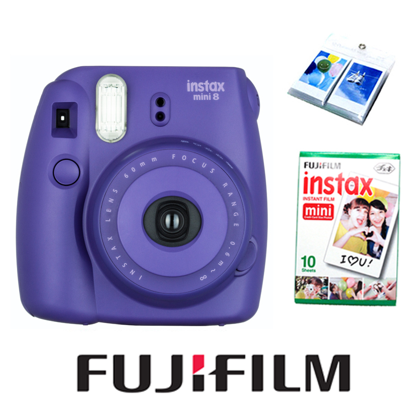 Prix pour Fujifilm fuji instax mini 8 instantanée film photo caméra new purple couleur + 10 feuilles fuji instax mini blanc fujifilm films & album