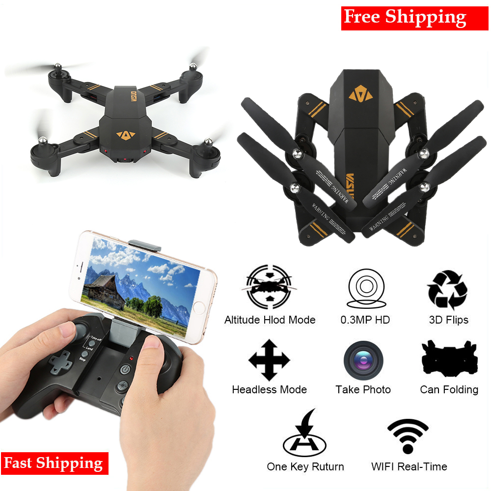 XS809W Mini Foldable Drone RC Selfie Drone with Wifi FPV HD Camera Headless Mode RC Quadcopter Drone Portable Model jjrc h37 elfie rc quadcopter foldable pocket selfie drone with camera