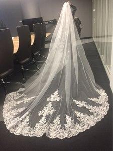 Image 2 - جديد 4 متر طبقة واحدة الدانتيل تول طرحة زفاف طويلة جديد أبيض العاج 4 متر الحجاب الزفاف مع مشط فيلوس دي نوفيا 400 سنتيمتر