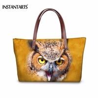 INSTANTARTS Stylish Women Shopping Tote Bags Tavel Brand Female Handbags Cute 3D Animal Owl Face Print