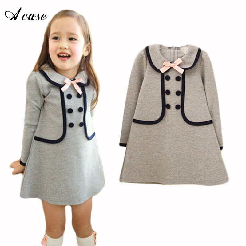 2018 New Kids Girls Dress Children Cute Bow Knot Faux 2 Pieces Onepiece Girls Party School Long-sleeve Preppy Style Dresses