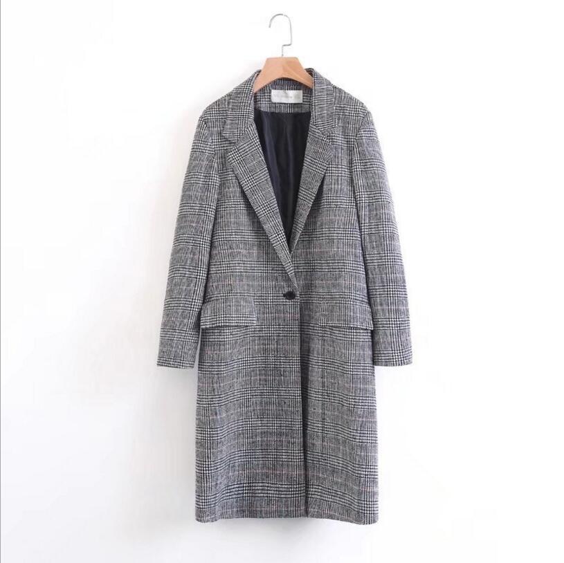 2017 automne et hiver manteau Plaid en laine manteau taille large col de costume femmes veste Slim laine manteau casaco feminino