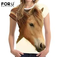FORUDESIGNS Horse Clothes Girls Women T Shirt Harajuku Elastic Tees Feminine Shirts Anima Bodybuilding Slime Horse