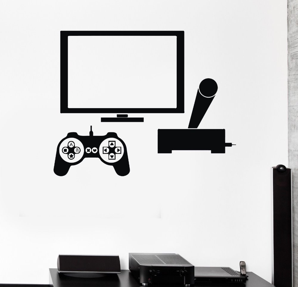 home office decor games. computer vinyl wall sticker video game gamer pc play room boy teen mural art decal shop office home decoration decor games d
