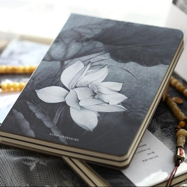 """Lotus Flower"" Sketchbook Blank Papers Diary Pocket Journal School Study Notebook Stationery Gift"