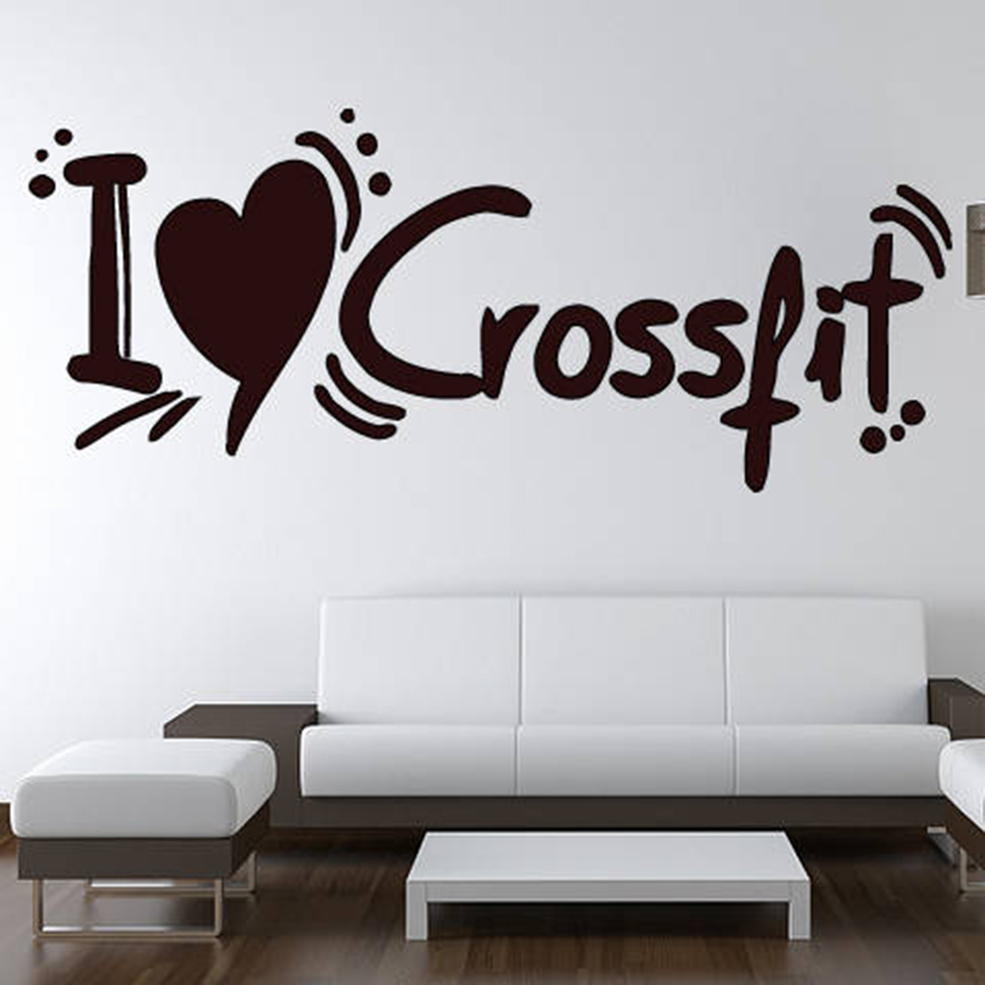 . US  4 98 30  OFF I Love Crossfit Wall Decals Living Room Bedroom Home Decor  Motivation Workout Fitness Sport Gym Vinyl Wall Stickers S197 in Wall