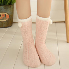 1 Pair Winter Autumn Warm Casual Candy Color Cute Plush Womens Lady Thicken Coral Fleece Slipper Mid Tube Socks Fuzzy Hosiery