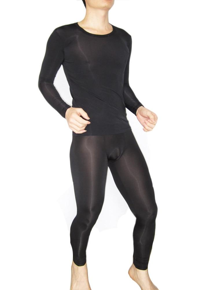 Male Sleepwear Sexy Viscose Long-sleeve Sleepwear Tights Set Silky Ultra-thin Long Johns 1378 Male Underwear Men