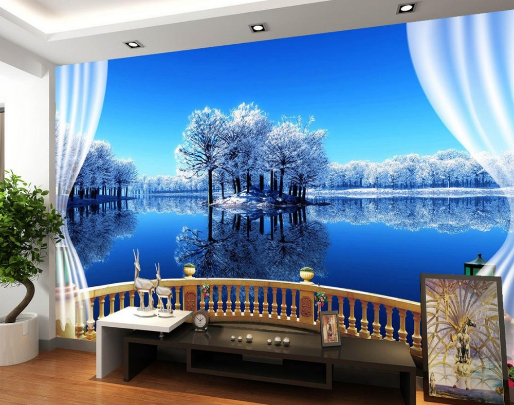 Beautiful Lake Scenery Outside The Window 3d Wallpaper Modern For Living Room Murals Home Decoration In Wallpapers From Improvement On Aliexpress