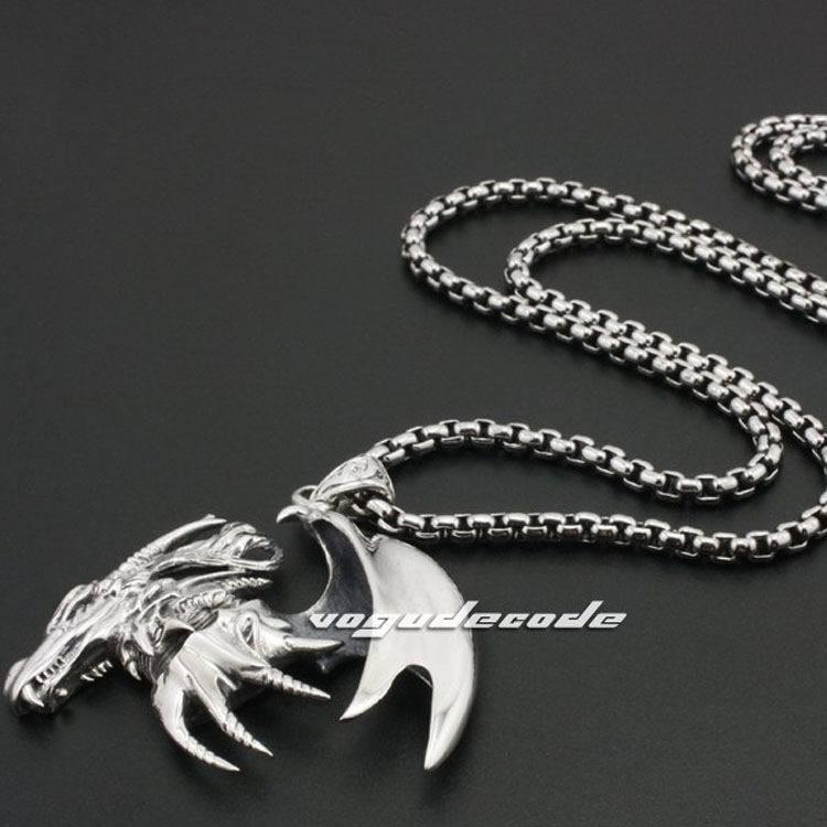 Huge Flying Dragon Solid 925 Sterling Silver Mens Rocker Pendant 8B007(Necklace 24inch) solid 925 sterling silver huge