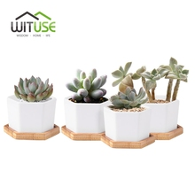 new 4pcsset white ceramic plant pot geometry hexagon desktop landscape succulent plant pot porcelain flower pot bonsai