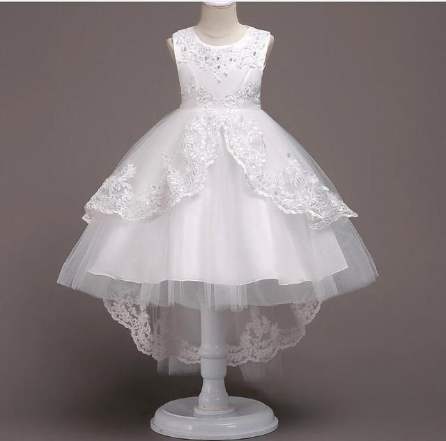 Children's lace performance princess dress girls lovely one piece sleeveless mesh dancing dress Family Matching Outfits R495