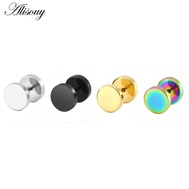 Alisouy 2 Pcs Fashion Anting Punk Dua Sisi Bulat Baut Stud Anting-Anting Pria Gothic Barbel Hitam Anting-Anting Pria Perhiasan Hadiah
