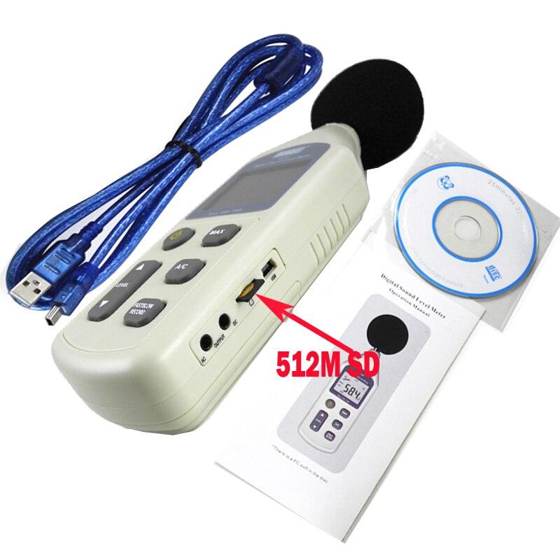 WS1361C sonomètre numérique, décibels, sonomètre numérique LCD 30-130db USB + avec carte SD