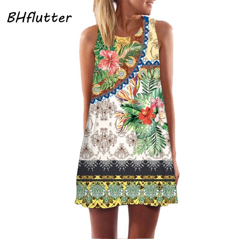 Женское платье в полоску BHflutter, повседневное пляжное мини-платье без рукавов с круглым вырезом, 2018