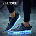 Spansee shoes tamaño 25-45 de carga usb led light up shoe kids light girls shoes zapatillas niños luminosos led brillantes zapatillas de deporte