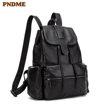 PNDME casual simple top layer cowhide mens womens backpack waterproof soft genuine leather black daily travel bookbag bagpack