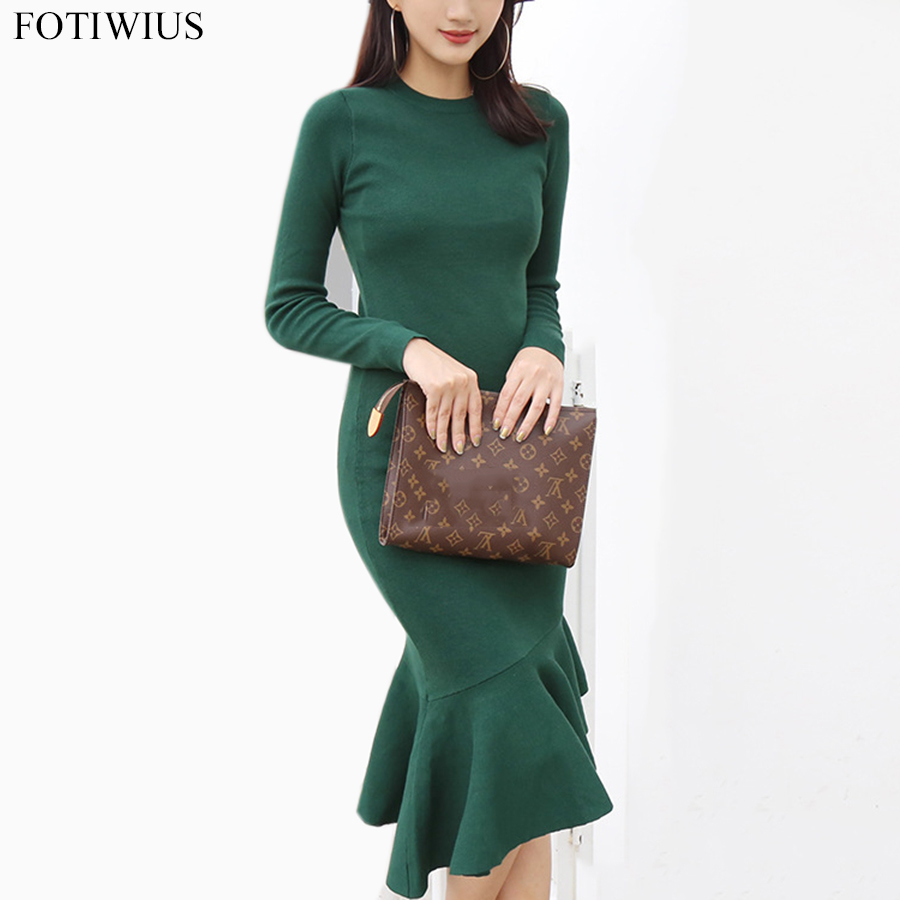 Spring 2018 Fashion Knitted Dress Long Sleeve Autumn Woman Sheath Dress Long Slim Hip Packaged Bodycon Dresses Pull Femme Hiver spring autumn woman dress faux pearl rhinestone beading sleeve cuff knitted dress fashion vintage elastic black red party dress