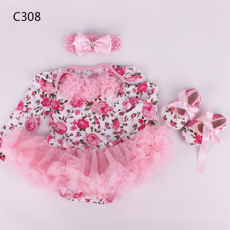 Baby Girl Infant 3pcs Clothing Sets Long Sleeve Tutu Romper Dress/Jumpersuit+Headband+Shoes Bebe Birthday Party Costumes Vestido newborn baby girl dresses 3pcs clothing sets suit infant romper jumpersuit bebe party wedding costumes vestidos