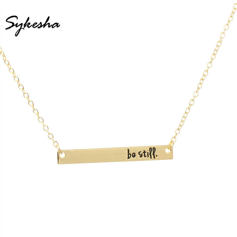 2019 Religious Bible Verse Christian Belief Jewelry Fashion Be Still Bar Pendant Necklace Inspirational Gift for Women Men