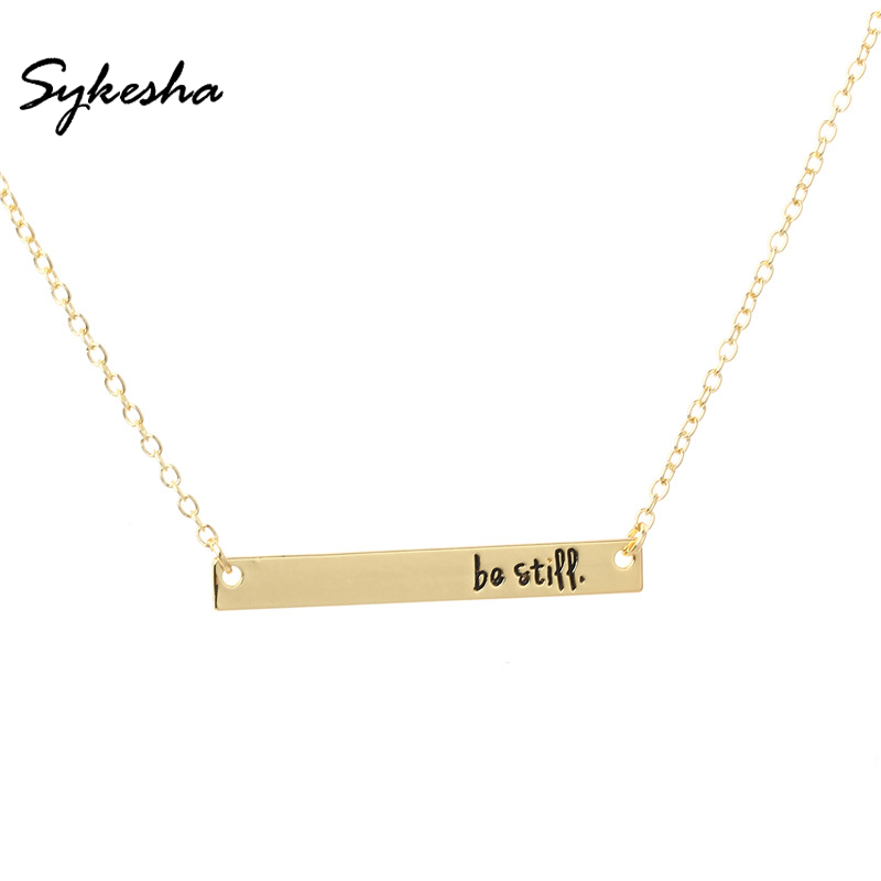 2018 Religious Bible Verse Christian Belief Jewelry Fashion Be Still Bar Pendant Necklace Inspirational Gift for Women Men