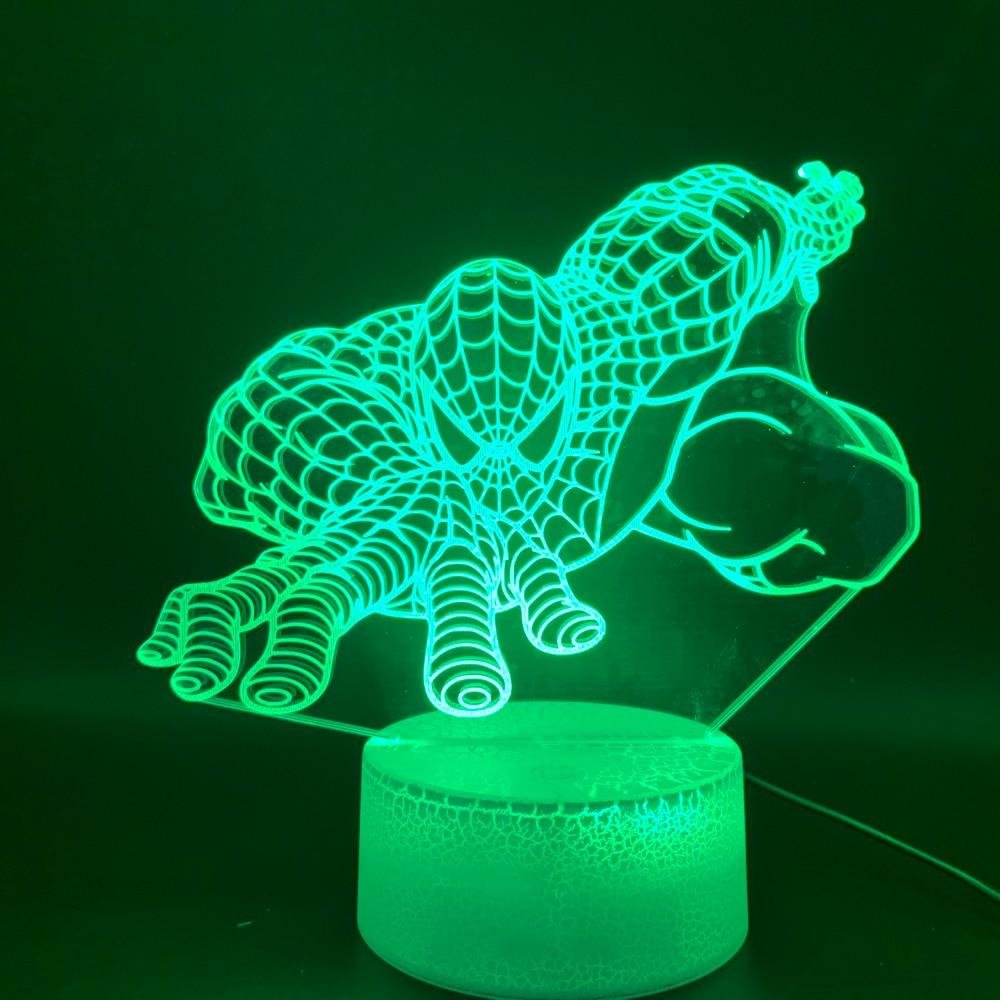 Novelty Lights 3d Lamp Marvel Spiderman Room Decor Luminaria Gift For Kids Child Bedroom Superhero LED Night Light Spider Man