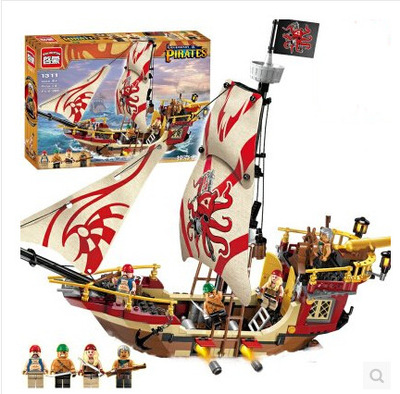 New bricks368pcs Enlighten pirates ship Marauder building block set Kids Educational  brinquedos lewinToys lepin kazi 608pcs pirates armada flagship building blocks brinquedos caribbean warship sets the black pearl compatible with bricks