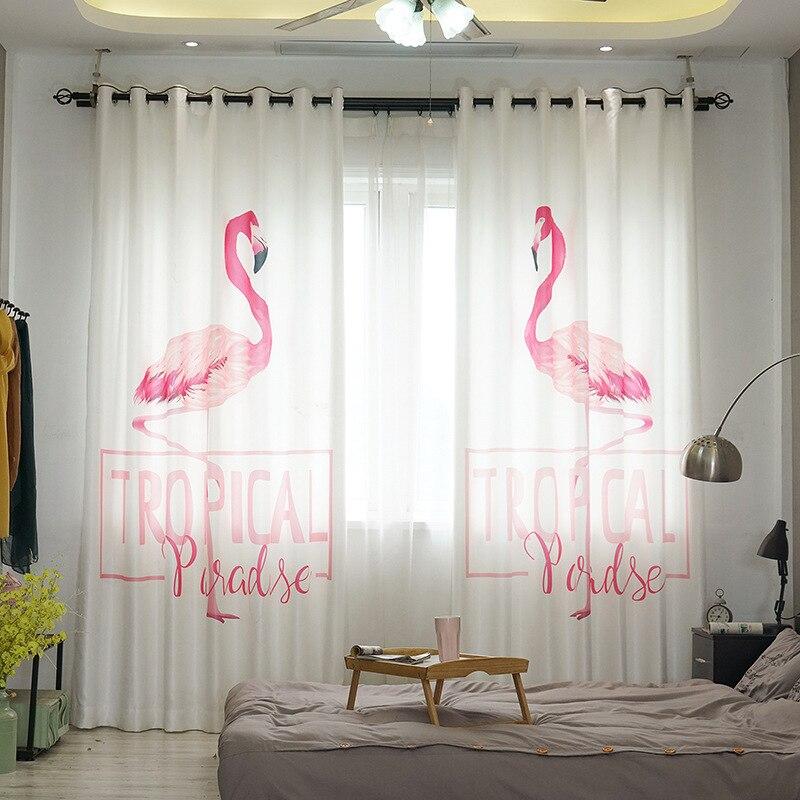 Rideaux occultants modernes avec impression 3D rose Flamingo traitement de fenêtre plate solide rideau lumineux pour salon chambre drapé