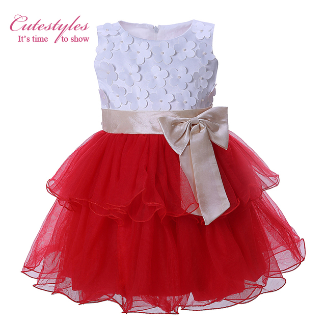 92877755d Cutestyles 2017 New Girls White Flowers Red Tiered Tulle Dress 1 7Y ...