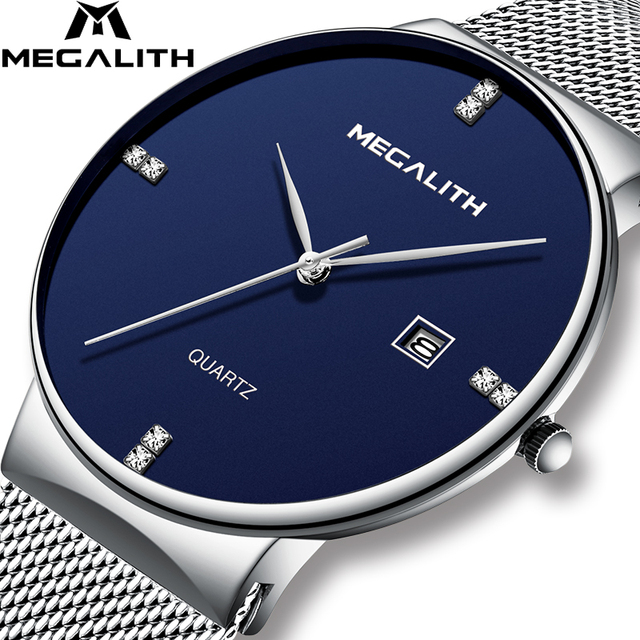 MEGALITH Mens Watches Business Waterproof Stainless Steel Mesh Wrist Watches Gen