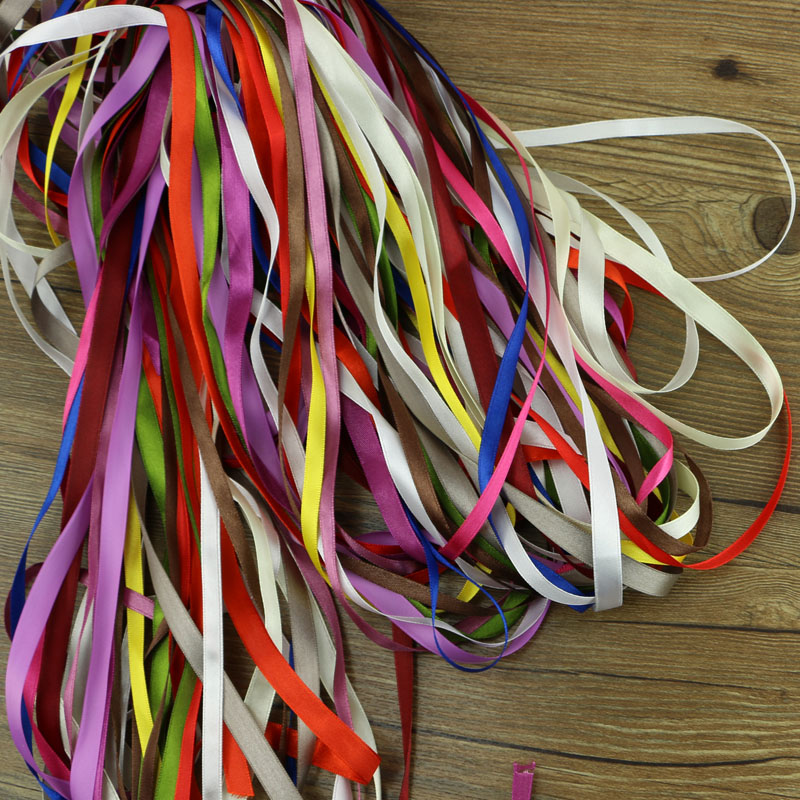 Mixed random delivery <font><b>50</b></font> yards of silk ribbon 6-10mm decorative crafts gift packaging garment sewing fabric supplies image