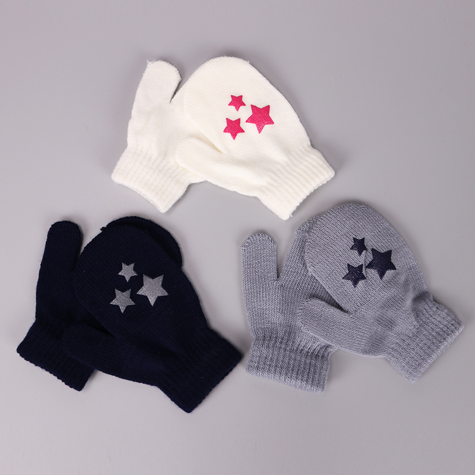 2 Pairs Fashion Kids Little Dots Stars Hearts Pattern Mittens White Blue Gray Children Boys Girls Soft Knitting Warm Gloves