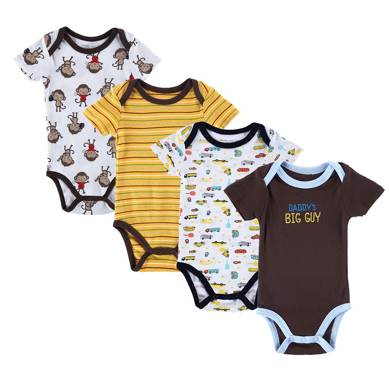 4PCS Baby Brand Boy Girl Bodysuits Short Sleeve Striped Style Newborn Clothes Bodysuits & One-Pieces Baby Clothig Color Blue (4)