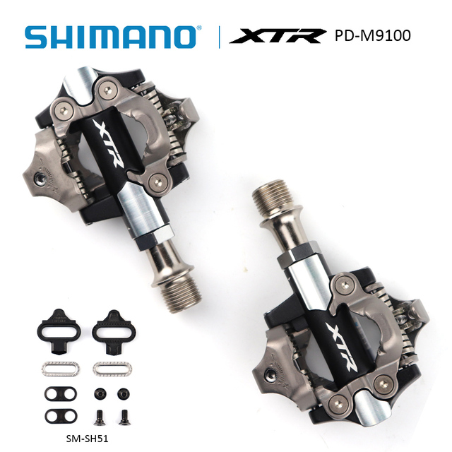 d4dbcd3a390 SHIMANO XTR PD-M9100 Mountain Bike SPD Pedal Clipless race Pedals Set incl  SM-SH51 cleats Mountain Bike Pedal