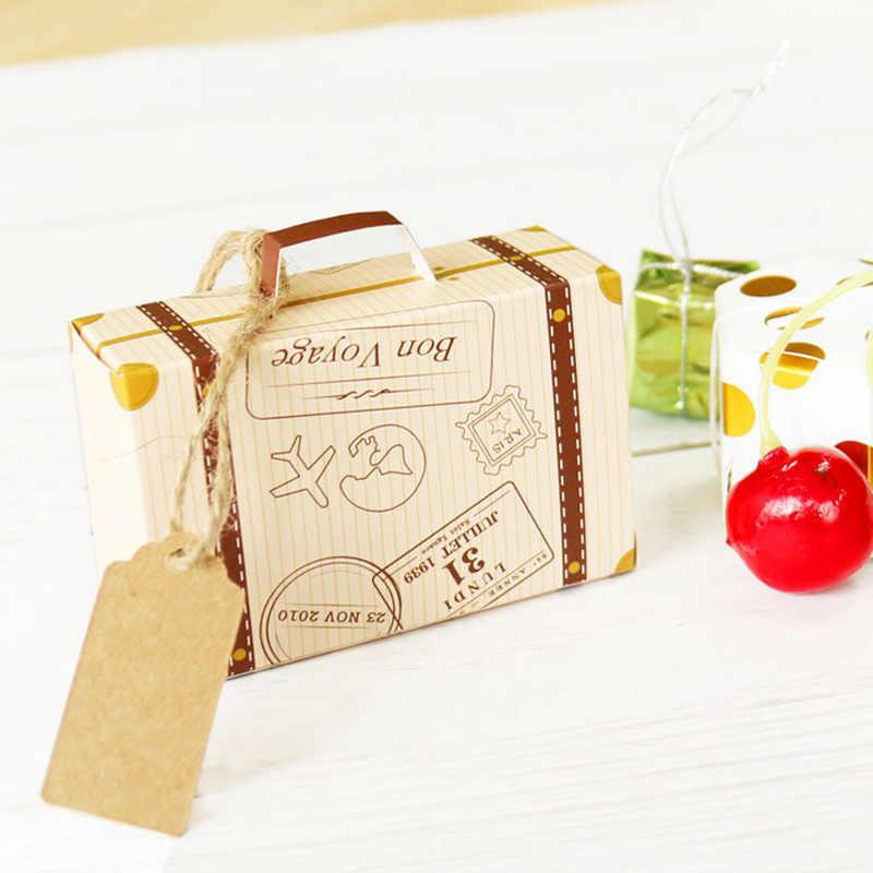 2 Pcs/set Kreatif Koper Mini Desain Permen Kotak Permen Kemasan Karton Chocolate Box Kotak Hadiah Pernikahan dengan Kartu untuk Acara pesta