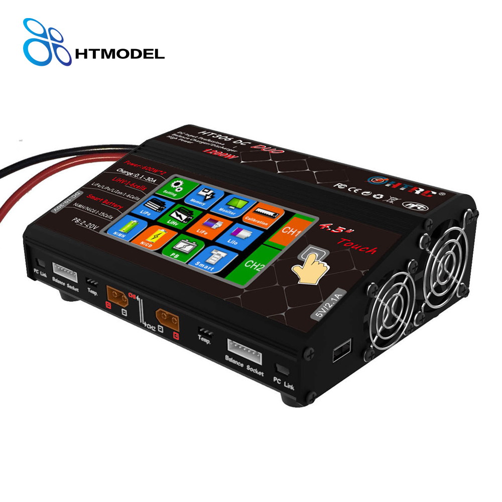 HTRC 4.3 Color LCD Touch Screen HT306 DUO 600W*2 30A*2 AC DC Dual Port RC Balance Charger for Lilon/LiPo/LiFe/LiHV Battery